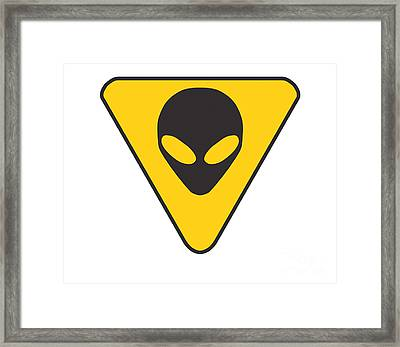 Alien Grey Hazard Graphic Framed Print by Pixel Chimp