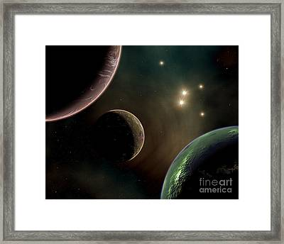 Alien Worlds That Orbit Different Types Framed Print by Mark Stevenson