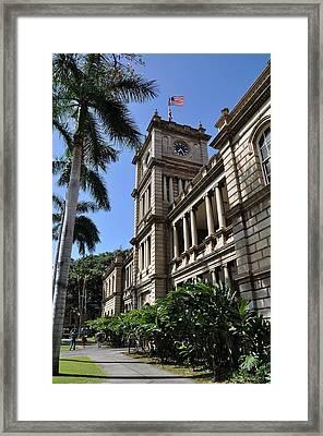 Aliiolani Hale 1 Framed Print by Donald Sauret