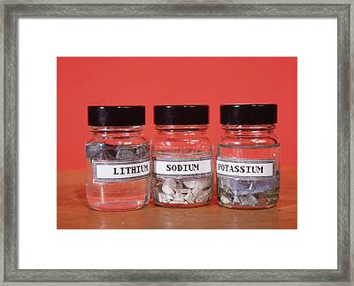 Alkali Metals In Jars Framed Print by Andrew Lambert Photography