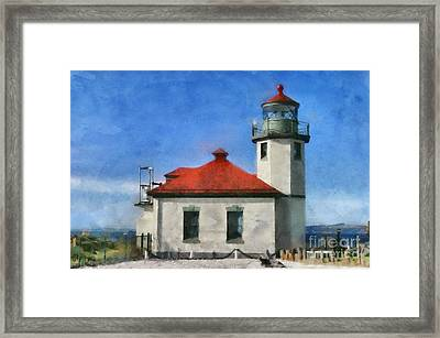 Alki Point Lighthouse In Seattle Washington Framed Print by Mary Warner