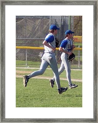 All Air Baseball Players Running Framed Print by Thomas Woolworth