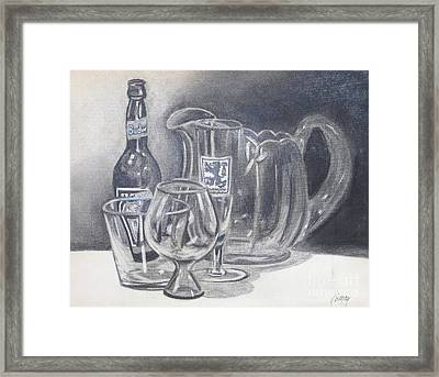 Framed Print featuring the drawing All Gone by Rod Ismay