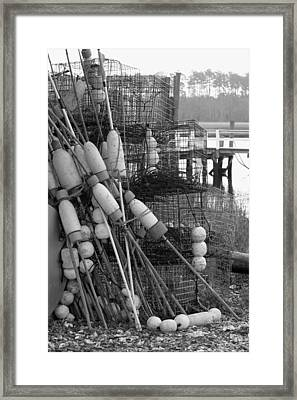 All Stacked Up In Black And White Framed Print by Suzanne Gaff