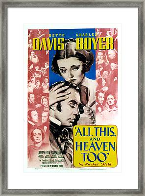 All This And Heaven Too, Bette Davis Framed Print by Everett