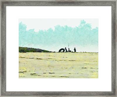 All You Need Is A Camp And A Big Rubber Ring Framed Print by Steve Taylor