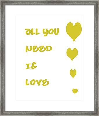 All You Need Is Love - Yellow Framed Print by Georgia Fowler