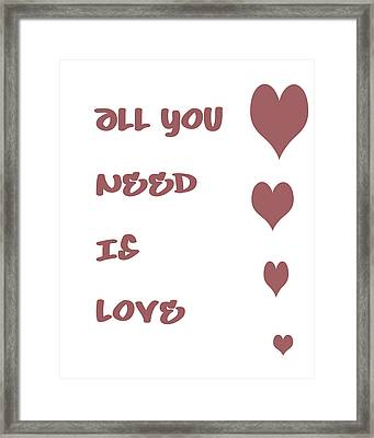 All You Need Is Love - Plum Framed Print by Georgia Fowler