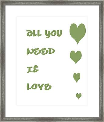 All You Need Is Love - Sage Green Framed Print by Georgia Fowler