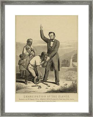 Allegorical Print Of Lincoln Framed Print