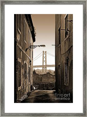 Alley And Bridge Framed Print by Carlos Caetano