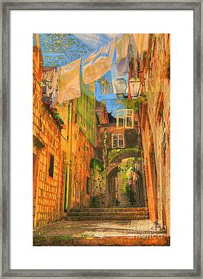 Alley In Croatia Framed Print by Alberta Brown Buller