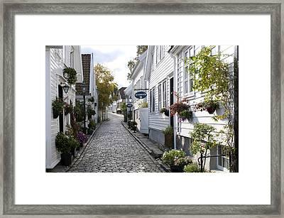 Alley In Old Stavanger, gamle Stavanger Framed Print by Olivier Anger