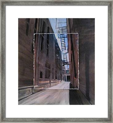 Alley With Fire Escape Layered Framed Print by Anita Burgermeister