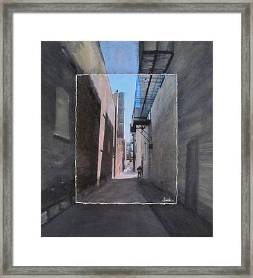 Alley With Guy Reading Layered Framed Print by Anita Burgermeister
