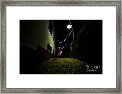 Alley With Lights Framed Print