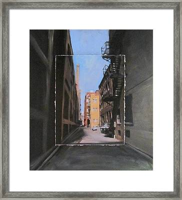 Alley With Red And Tan Buildings Layered Framed Print by Anita Burgermeister