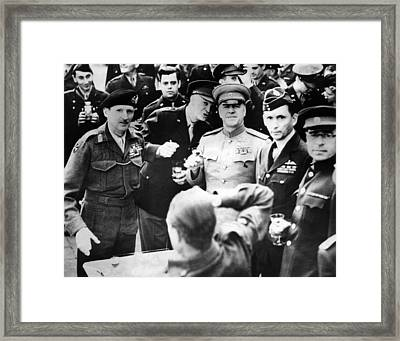 Allied Leaders Drink A Victory Toast Framed Print by Everett