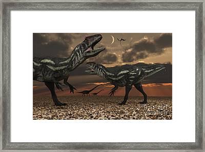 Allosaurus Dinosaurs Stalk Their Next Framed Print by Mark Stevenson