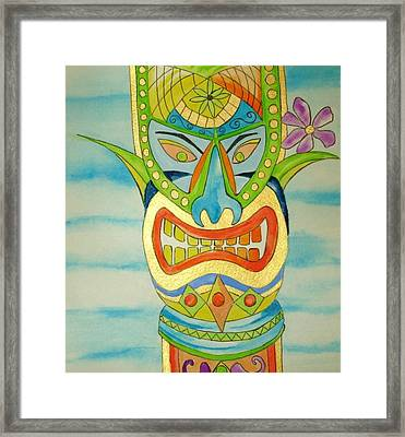 Framed Print featuring the painting Aloha Tiki by Erika Swartzkopf