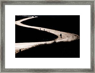 Framed Print featuring the photograph Alone On The Road by Okan YILMAZ