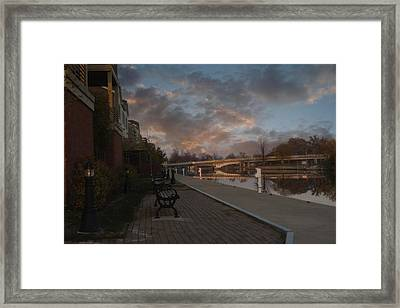 Along The Menasha Riverfront Framed Print by Joel Witmeyer