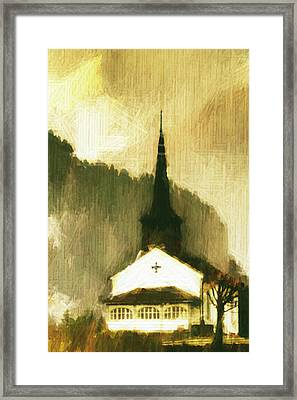 Framed Print featuring the digital art Alpine Church by Andrea Barbieri