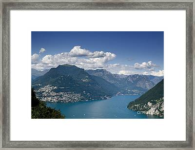 Alpine Lake And Mountains Framed Print by Mats Silvan