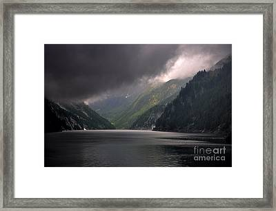Alpine Lake With Sunlight Framed Print by Mats Silvan