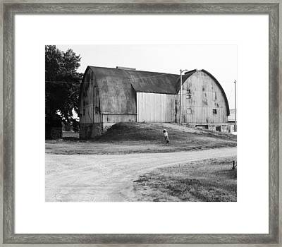 Aluminum Gothic Arch Barn  Framed Print by Jan W Faul