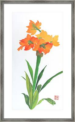 Framed Print featuring the painting Amaryllis by Yolanda Koh