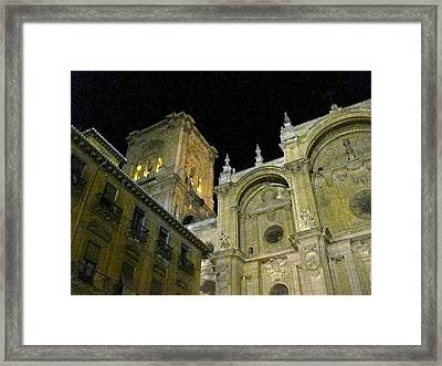 Amazing Exterior Architecture Of Cathedral At Night Granada Spain Framed Print
