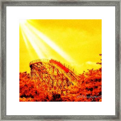 #amazing Shot Of A #rollercoaster At Framed Print