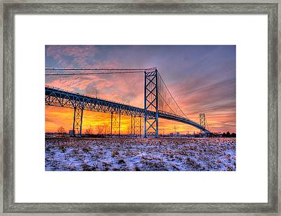 Ambassador Bridge Sunrise 1-16-2012  Detroit Mi Framed Print by Nicholas  Grunas
