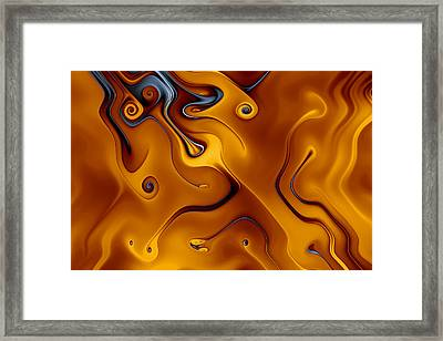 Amber And Obsidian Curls Framed Print