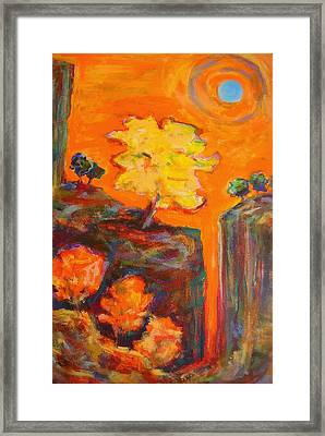 Framed Print featuring the painting Amber Sky Blue Sun by Mary Schiros