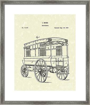 Ambulance Moses 1858 Patent Art Framed Print