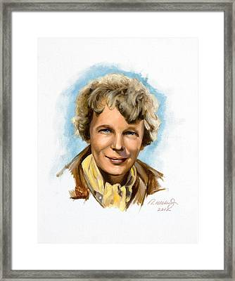 Framed Print featuring the painting Amelia Earhart by Karen Wilson