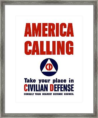 America Calling -- Civilian Defense Framed Print by War Is Hell Store