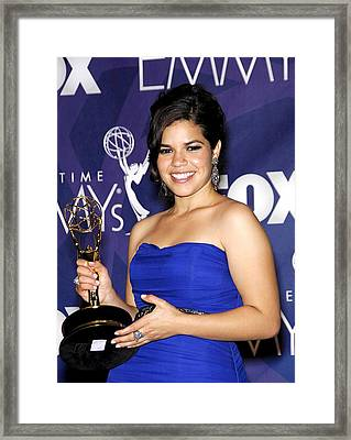 America Ferrera Wearing A Monique Framed Print by Everett
