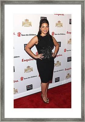 America Ferrera Wearing A Moschino Framed Print