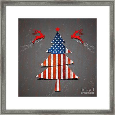 America X'mas Tree Framed Print by Atiketta Sangasaeng
