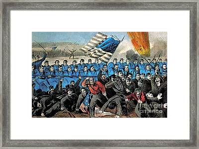American Civil War, Battle Of Malvern Framed Print by Photo Researchers