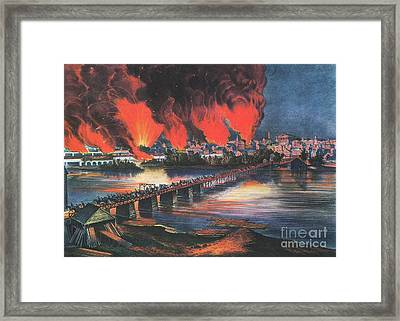 American Civil War Fall Of Richmond Framed Print by Photo Researchers