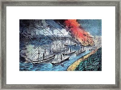 American Civil War, Farraguts Fleet Framed Print by Photo Researchers