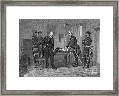 American Civil War, Lee Surrenders Framed Print by Photo Researchers