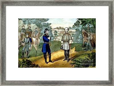 American Civil War, Surrender Framed Print by Photo Researchers