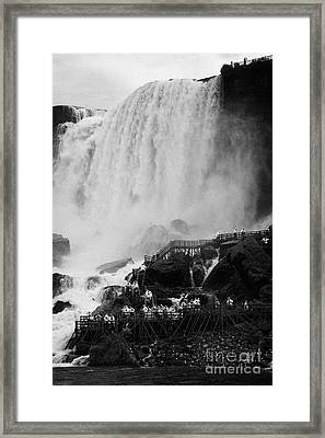 American Falls With Cave Of The Winds Walkway Niagara Falls New York State Usa Framed Print by Joe Fox
