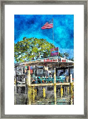 Framed Print featuring the photograph American Flag At Bait Shop by Dan Friend