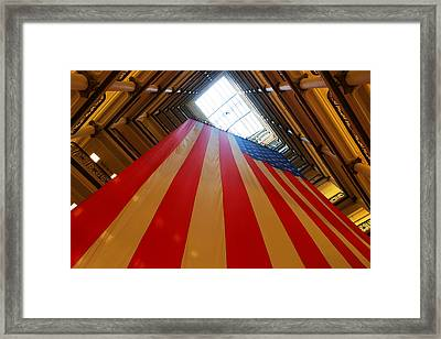 American Flag In Marshall Field's Framed Print by Paul Ge